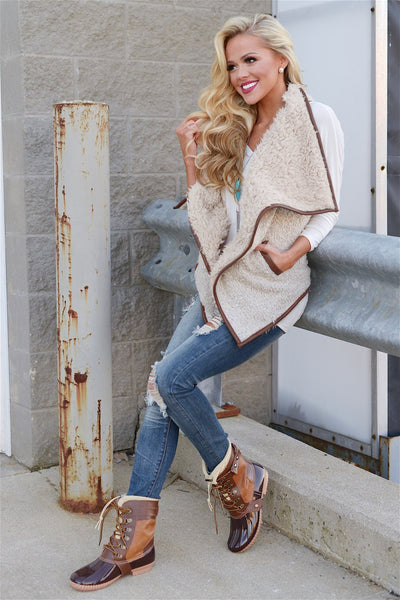 Breaking The Mold Shearling Vest - soft vest, fall style, Closet Candy Boutique Side