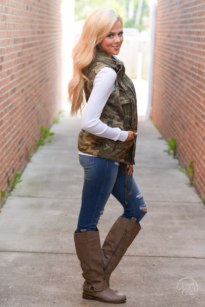 Born & Raised Camo Hooded Vest - camo print zip front vest, Closet Candy Boutique 4