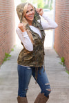 Born & Raised Camo Hooded Vest - camo print zip front vest, Closet Candy Boutique 2