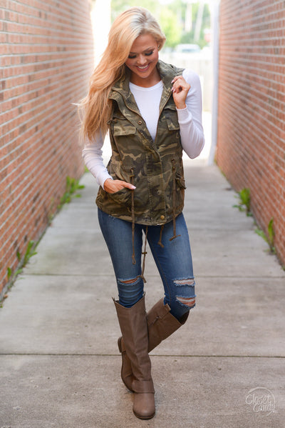Born & Raised Camo Hooded Vest - camo print zip front vest, Closet Candy Boutique 1