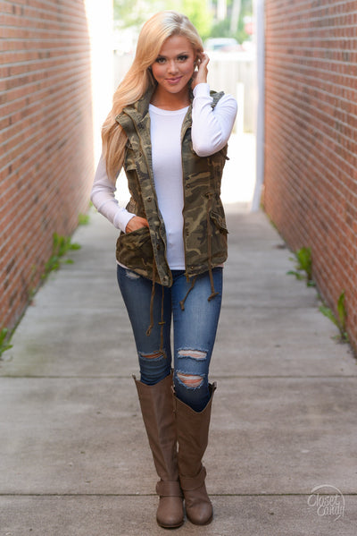 Born & Raised Camo Hooded Vest - camo print zip front vest, Closet Candy Boutique 5