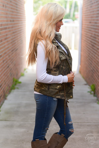 Born & Raised Camo Hooded Vest - camo print zip front vest, Closet Candy Boutique 6