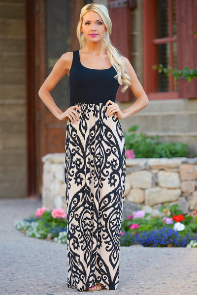 CCB Another Love Song Maxi Dress - Black/Taupe