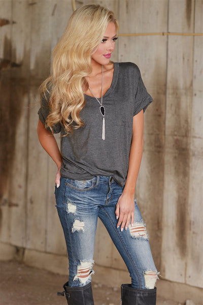 close to you v-neck top charcoal trendy womens fashion shirt style closet candy boutique