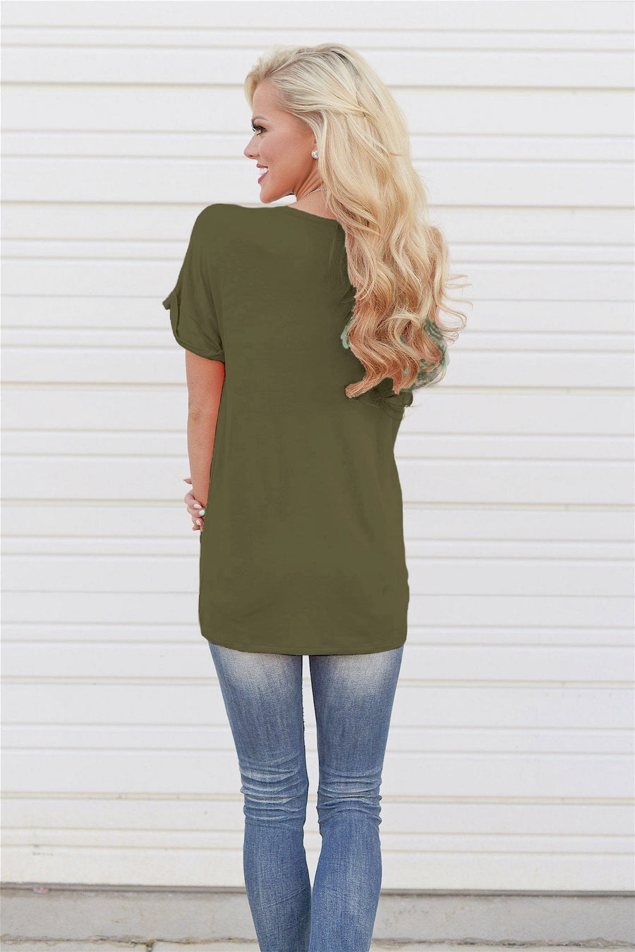 Close To You V-Neck Top - Olive short sleeve v-neck basic top, front, Closet Candy Boutique
