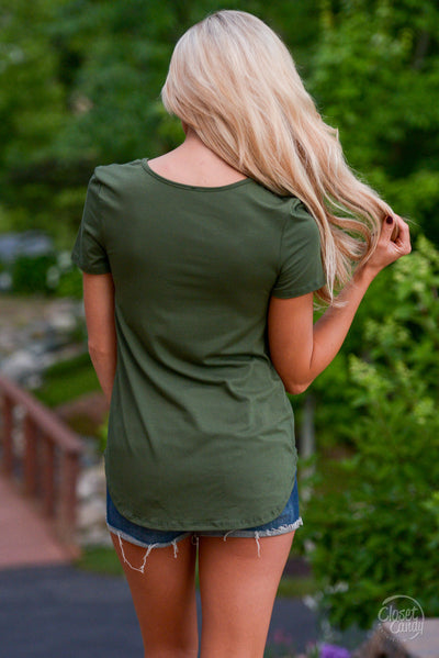 Blaze the Way Top - cute trendy army green criss cross top, back, Closet Candy Boutique