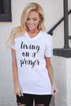 """Living On A Prayer"" Top - White v-neck top, front, Closet Candy Boutique"