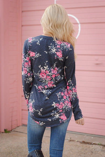 My Kind of Day Floral Top - Charcoal