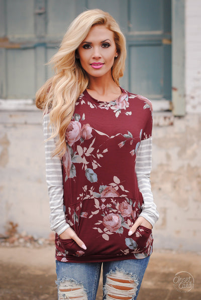 Promise To Keep Contrast Pattern Top - Burgundy