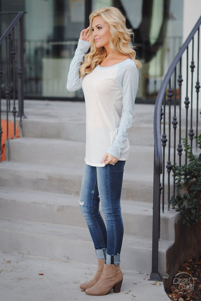 Stealing Hearts Ribbed Raglan Top - Light Blue