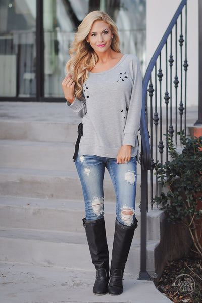 Boulevard Beauty Destroyed Top - Grey