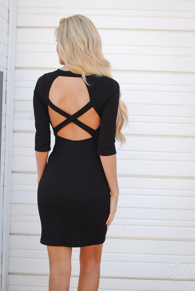 The World Is Ours Cutout Dress - Black