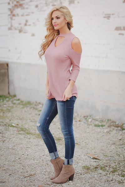 Sweet Talk Cold Shoulder Top - Dusty Pink
