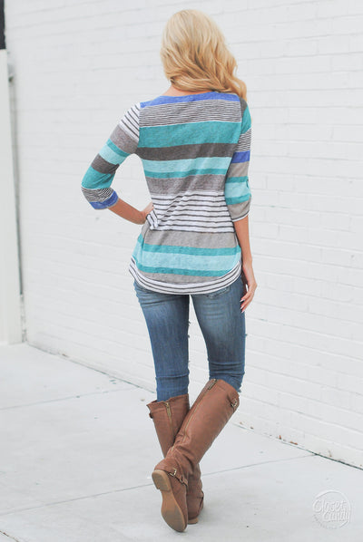 From Season To Season Striped Top - Mint