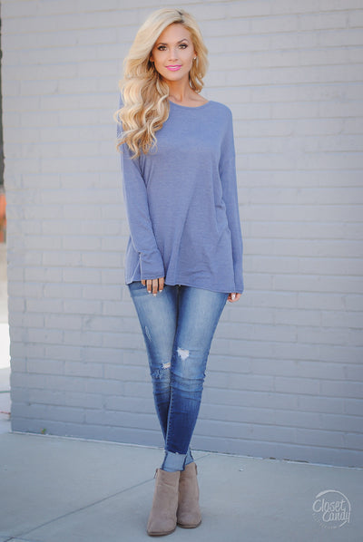 One Step Ahead Surplice Back Top - Blue