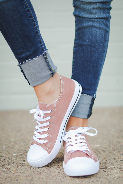 Play For Keeps Suede Sneakers - Dusty Rose