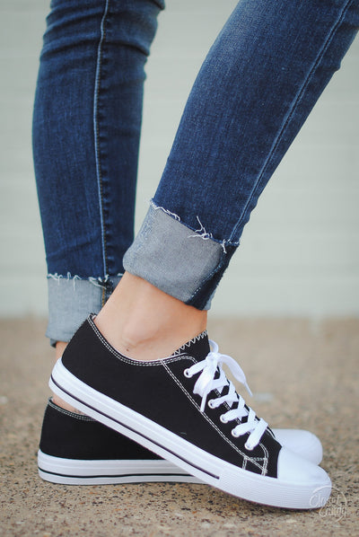 Play For Keeps Sneakers - black and white canvas sneakers for spring and summer, side, Closet Candy Boutique