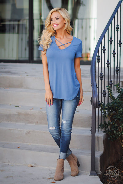 Blaze the Way Top - Blue criss cross short sleeve top, front, Closet Candy Boutique