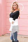 Drive Me Wild Colorblock Top - Black womens stripe top lace back closet candy boutique