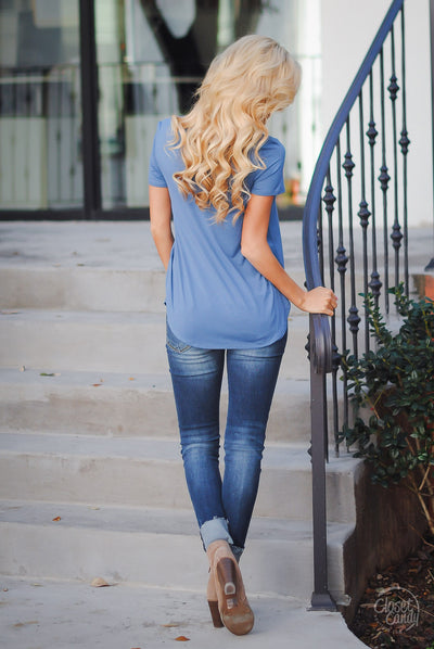 Blaze the Way Top - Blue criss cross short sleeve top, back, Closet Candy Boutique