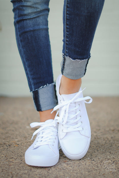 Closet Candy Boutique - white canvas sneakers for spring and summer, front