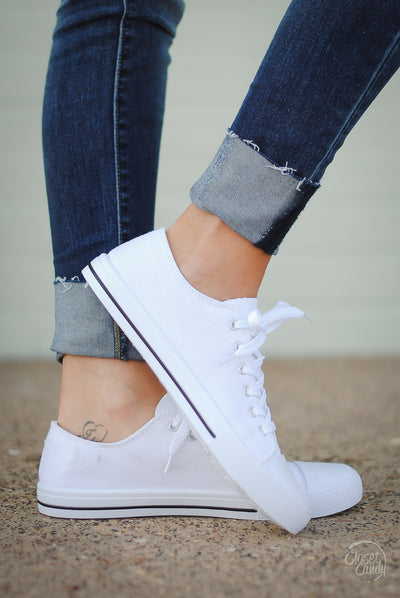 Closet Candy Boutique - white canvas sneakers for spring and summer, side