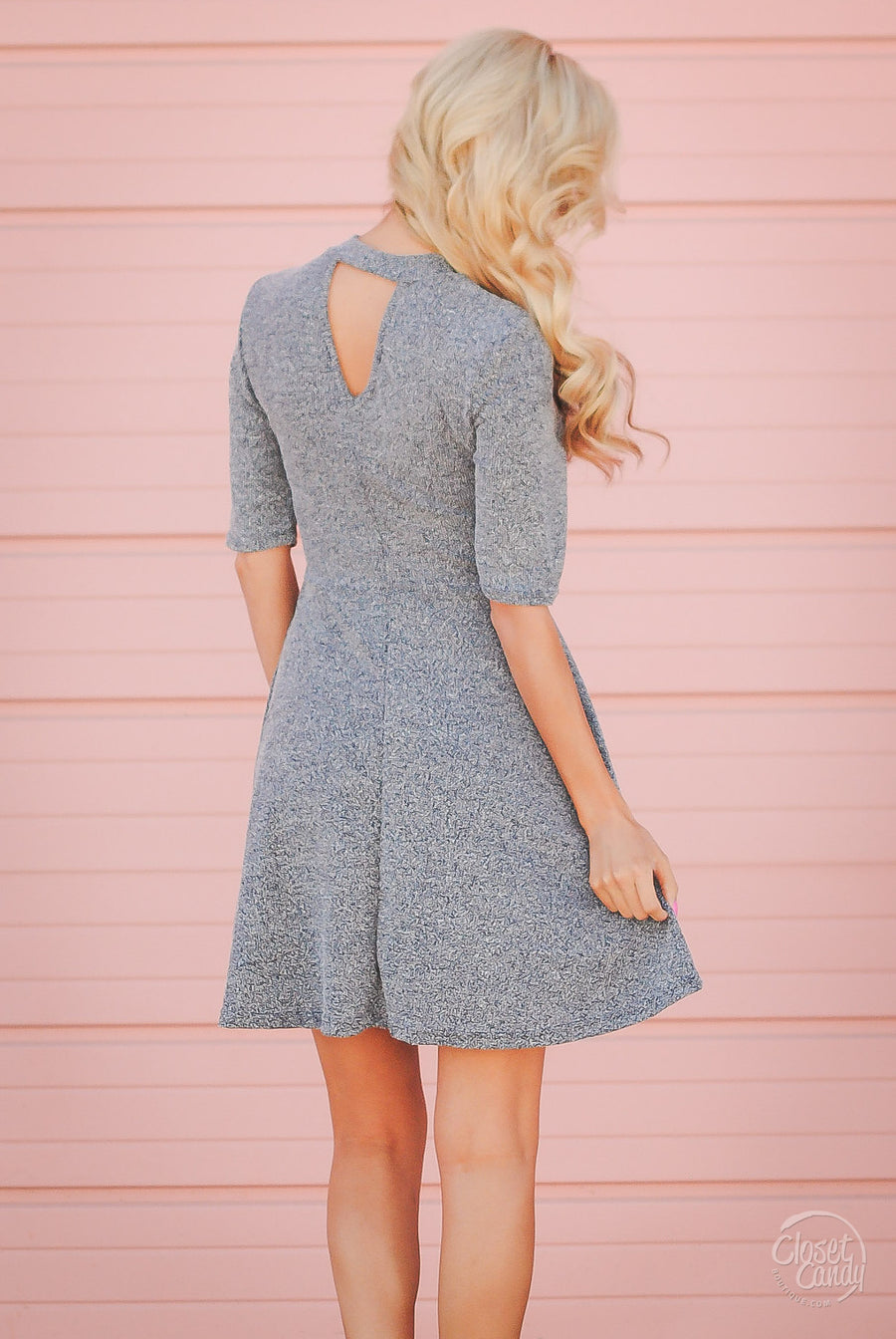 On Time Boucle Keyhole Dress - Navy