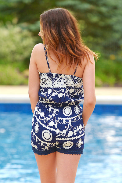 Forget Me Not Romper - Blue