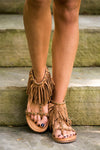 Getting Fringy With It Sandals - Tan