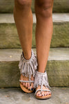 Getting Fringy With It Sandals - Taupe