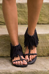 Getting Fringy With It Sandals - Black