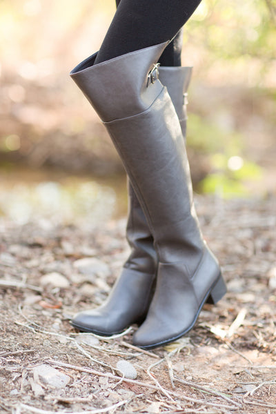 Pull It All Together Rider Boots - Grey