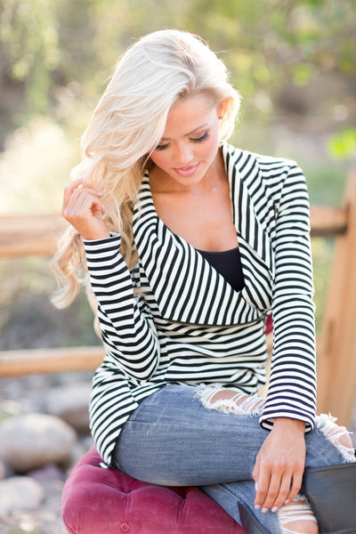 Welcome to New York Jacket - asymmetrical black and white stripe jacket, front, Closet Candy Boutique 2