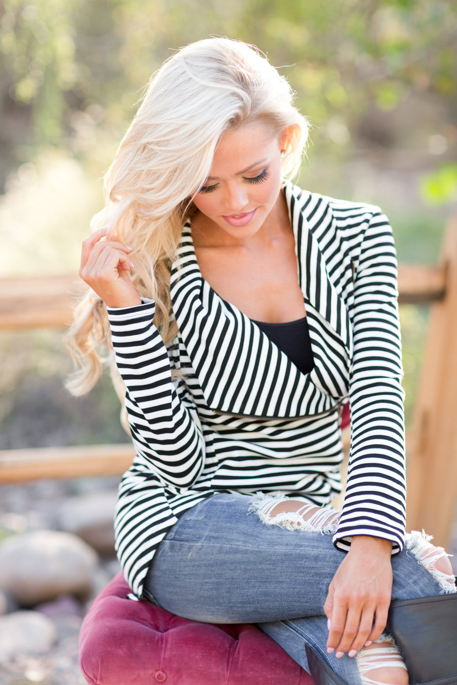 Welcome to New York Jacket - asymmetrical black and white stripe jacket, front, Closet Candy Boutique 1