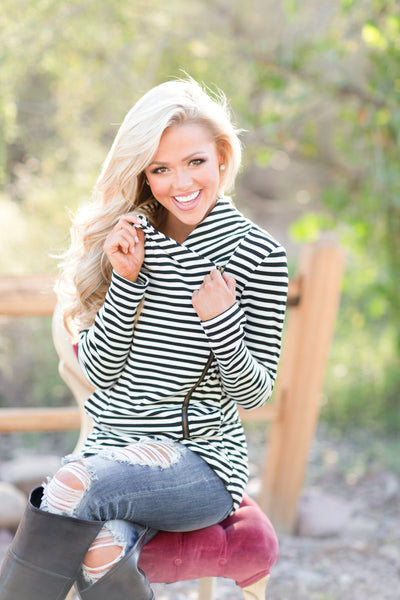 Welcome to New York Jacket - asymmetrical black and white stripe jacket, front, Closet Candy Boutique 6