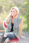 Welcome to New York Jacket - asymmetrical black and white stripe jacket, front view, Closet Candy Boutique 5