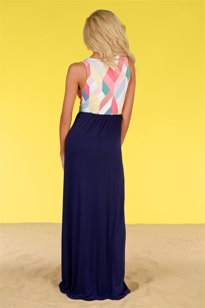 Closet Candy Boutique - geometric print maxi dress, spring and summer outfit, back