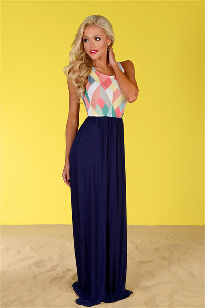 Closet Candy Boutique - geometric print maxi dress, spring and summer outfit