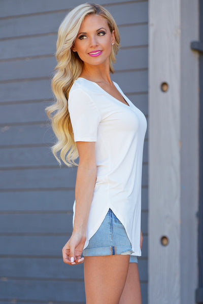 Closet Candy Boutique - Goes With Everything Top, cute and casual v-neck tee, comfortable everyday shirt, side