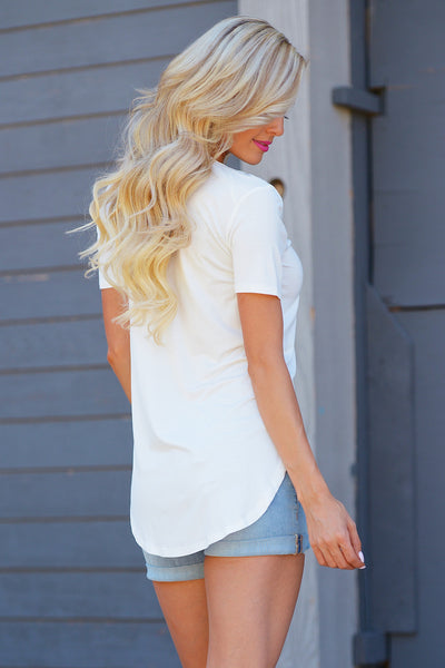 Closet Candy Boutique - Goes With Everything Top, cute and casual v-neck tee, comfortable everyday shirt, back