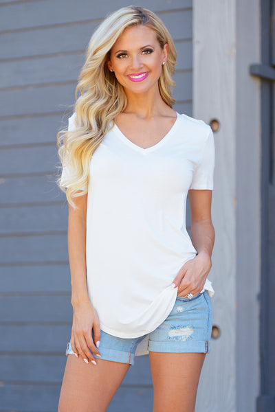 Closet Candy Boutique - Goes With Everything Top, cute and casual v-neck tee, comfortable everyday shirt, front