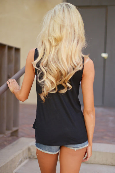 """Good Times & Tan Lines"" Sleeveless Top - Black"