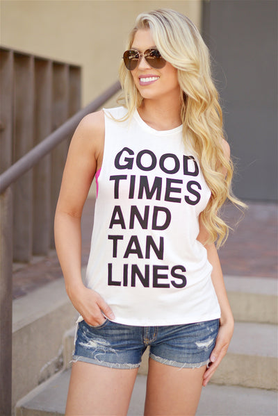 """Good Times & Tan Lines"" Sleveless Top - White"