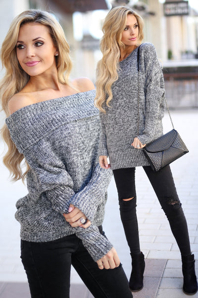GRACE & LACE On the Flip Side Sweater - Marbled Black long sleeve off the shoulder dolman sweater, outfit view, Closet Candy Boutique