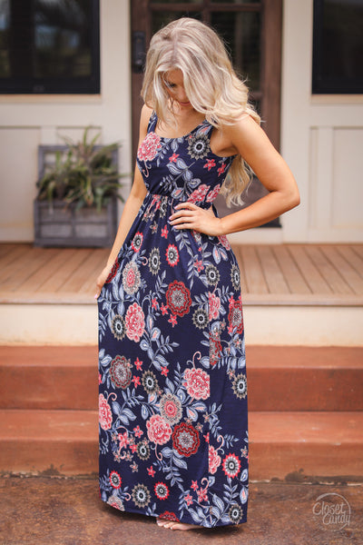 CCB Tropical Timeout Maxi Dress - Navy