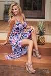Let's Luau Maxi Dress - Navy floral print high low dress, Closet Candy Boutique Sitting