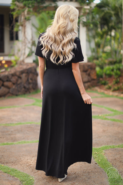 clock strikes midnight maxi dress black womens fashion stylish long trendy closet candy boutique