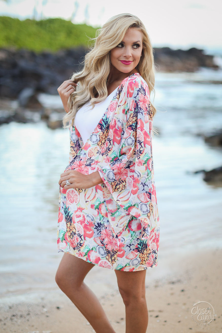 Closet Candy Boutique - Tropic Like It's Hot Kimono, cute tropical print vacation wear