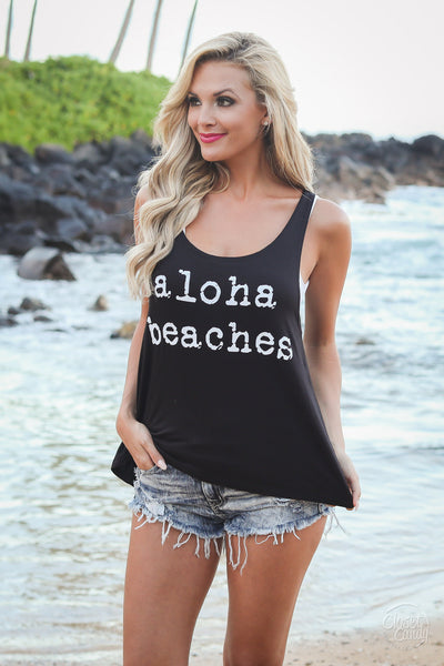 """Aloha Beaches"" Tank Top - Black women's graphic tee closet candy boutique"