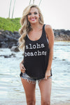 """Aloha Beaches"" Tank Top - Black"